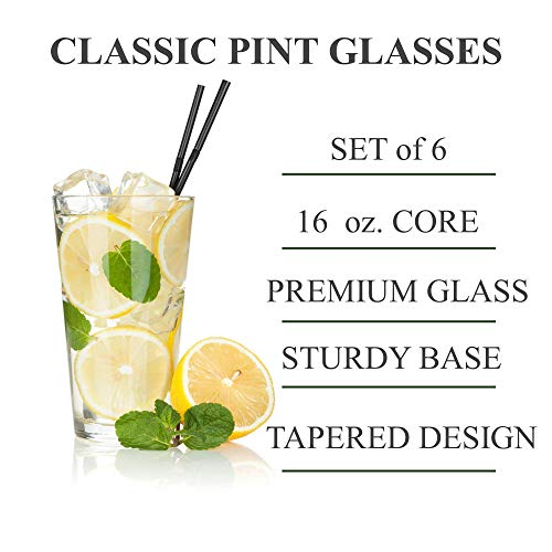 Classic Premium Beer Pint Glasses 16 Ounce Set Of 6 Highball Cocktail Mixing Glass Perfect For Cold Beverages Soda Water Used In Bar Restaurant Pub 0 0