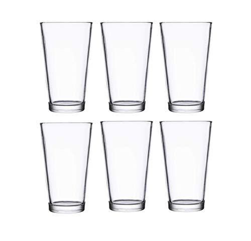 Classic Premium Beer Pint Glasses 16 Ounce Set Of 6 Highball Cocktail Mixing Glass Perfect For Cold Beverages Soda Water Used In Bar Restaurant Pub 0 1