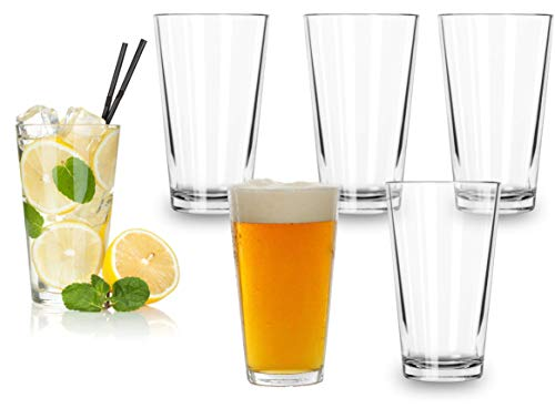 Classic Premium Beer Pint Glasses 16 Ounce Set Of 6 Highball Cocktail Mixing Glass Perfect For Cold Beverages Soda Water Used In Bar Restaurant Pub 0