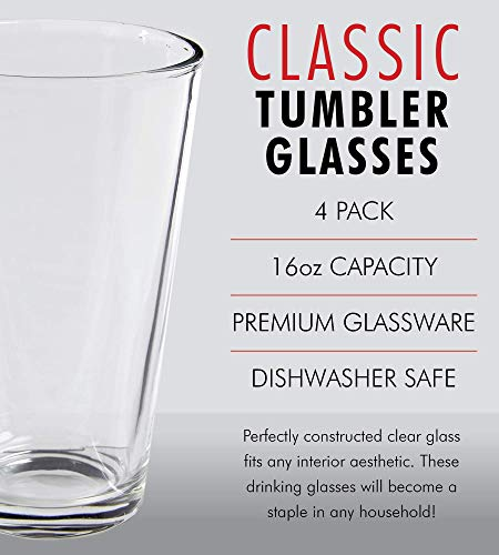 Clear Glass Beer Cups 4 Pack All Purpose Drinking Tumblers 16 Oz Elegant Design For Home And Kitchen Lead And BPA Free Great For Restaurants Bars Parties By Kitchen Lux 0 0