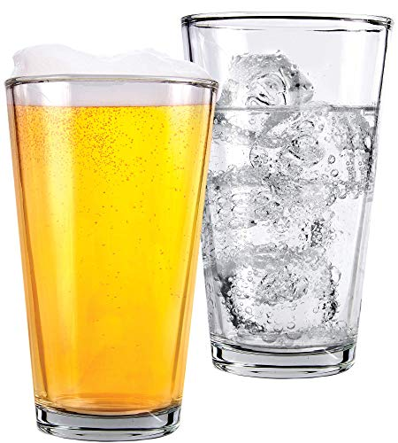 Clear Glass Beer Cups 4 Pack All Purpose Drinking Tumblers 16 Oz Elegant Design For Home And Kitchen Lead And BPA Free Great For Restaurants Bars Parties By Kitchen Lux 0 2