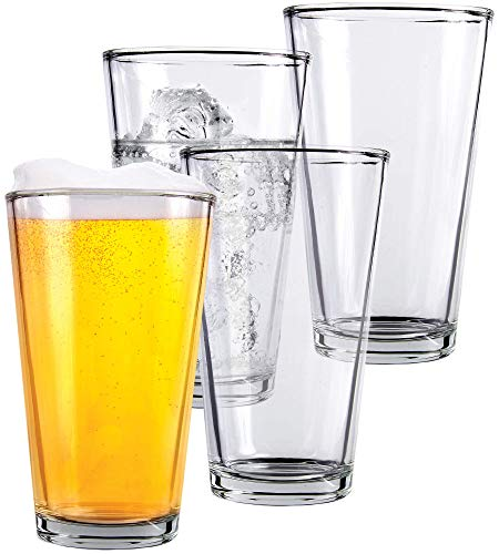 Clear Glass Beer Cups 4 Pack All Purpose Drinking Tumblers 16 Oz Elegant Design For Home And Kitchen Lead And BPA Free Great For Restaurants Bars Parties By Kitchen Lux 0