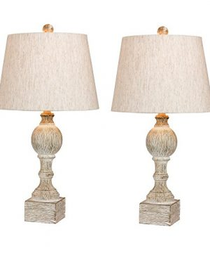 Cory Martin W 6239CAW 2PK Fangio Lightings 6239CAW 2PK Pair Of 265 In Distressed Sculpted Column Resin Table Lamps In A Cottage Antique White Finish 2 Piece 0 300x360