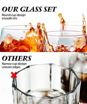 Crystal Whiskey Glasses Slaouwo Set Of 4 Old Fashioned Glasses With Thick Weighted Bottom Modern Ideal Glasses For Rocks Scotch Bourbon Liqueur Cocktail And Cognac 0 2 300x360