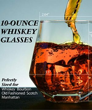 Crystal Whiskey Glasses Slaouwo Set Of 4 Old Fashioned Glasses With Thick Weighted Bottom Modern Ideal Glasses For Rocks Scotch Bourbon Liqueur Cocktail And Cognac 0 3 300x360