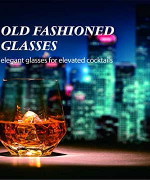 Crystal Whiskey Glasses Slaouwo Set Of 4 Old Fashioned Glasses With Thick Weighted Bottom Modern Ideal Glasses For Rocks Scotch Bourbon Liqueur Cocktail And Cognac 0 4 300x360