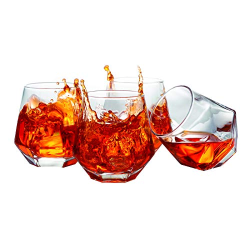 Crystal Whiskey Glasses Slaouwo Set Of 4 Old Fashioned Glasses With Thick Weighted Bottom Modern Ideal Glasses For Rocks Scotch Bourbon Liqueur Cocktail And Cognac 0