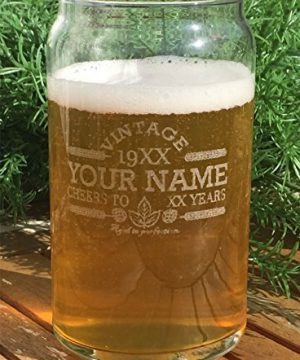 Customized Beer Can Glass Personalized Birthday Beer Glass Engraved Vintage Cheers Aged To Perfection Birthday Gift Etched Beer Glass Barware 1 0 0 300x360