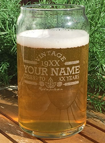 Customized Beer Can Glass Personalized Birthday Beer Glass Engraved Vintage Cheers Aged To Perfection Birthday Gift Etched Beer Glass Barware 1 0 0