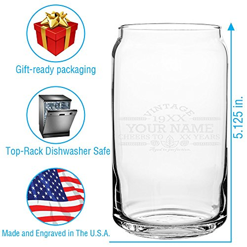 Customized Beer Can Glass Personalized Birthday Beer Glass Engraved Vintage Cheers Aged To Perfection Birthday Gift Etched Beer Glass Barware 1 0 1