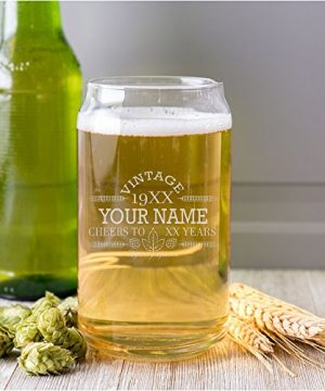 Customized Beer Can Glass Personalized Birthday Beer Glass Engraved Vintage Cheers Aged To Perfection Birthday Gift Etched Beer Glass Barware 1 0 2 300x360