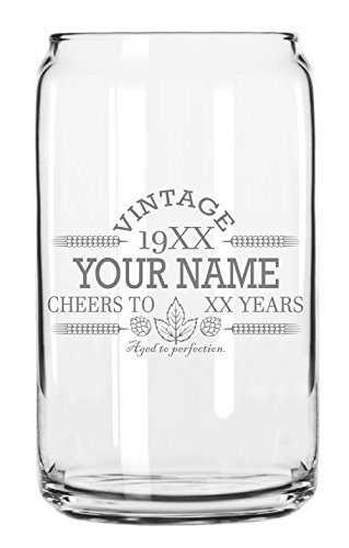 Customized Beer Can Glass Personalized Birthday Beer Glass Engraved Vintage Cheers Aged To Perfection Birthday Gift Etched Beer Glass Barware 1 0