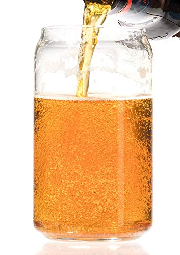 Ecodesign Drinkware Libbey Beer Glass Can Shaped 16 Oz Pint Beer Glasses 4 PACK Wcoasters 0 0