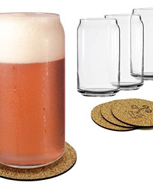 Ecodesign Drinkware Libbey Beer Glass Can Shaped 16 Oz Pint Beer Glasses 4 PACK Wcoasters 0 4 300x360