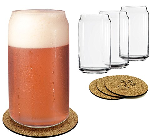 Ecodesign Drinkware Libbey Beer Glass Can Shaped 16 Oz Pint Beer Glasses 4 PACK Wcoasters 0 4