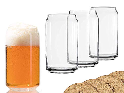 Ecodesign Drinkware Libbey Beer Glass Can Shaped 16 Oz Pint Beer Glasses 4 PACK Wcoasters 0