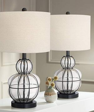 Eric Modern Table Lamps Set Of 2 Dark Bronze Blown Glass Gourd Burlap Fabric Drum Shade For Living Room Bedroom Bedside Nightstand Office Family 360 Lighting 0 300x360
