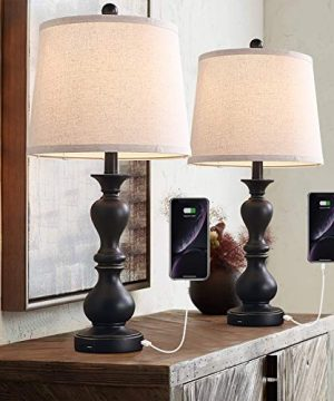 Farmhouse Table Lamp Set Of 2 26 Rustic Bedside Nightstand Light With 2 USB Ports Vintage Bedside Lamp For Bedroom Living Room Study Office Pack Of 2 Black Base Beige Shade 0 300x360