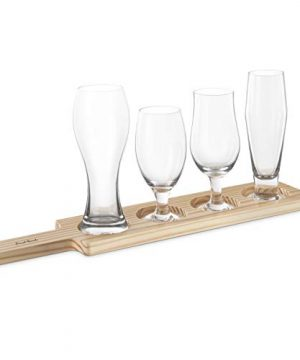 Final Touch Beer Tasting Paddle Set 4 Glasses Wood Paddle Tasting Guide GBT104 0 0 300x360