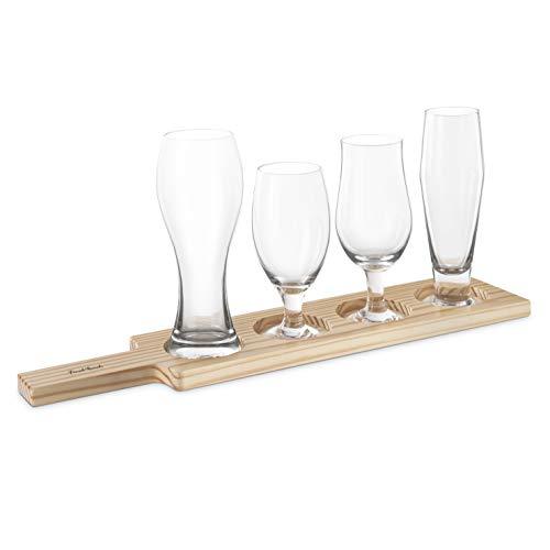 Final Touch Beer Tasting Paddle Set 4 Glasses Wood Paddle Tasting Guide GBT104 0 0
