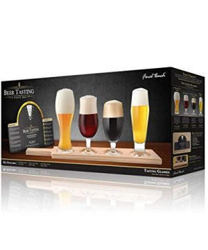 Final Touch Beer Tasting Paddle Set 4 Glasses Wood Paddle Tasting Guide GBT104 0 2 300x360