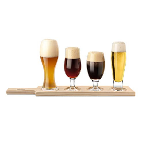 Final Touch Beer Tasting Paddle Set 4 Glasses Wood Paddle Tasting Guide GBT104 0