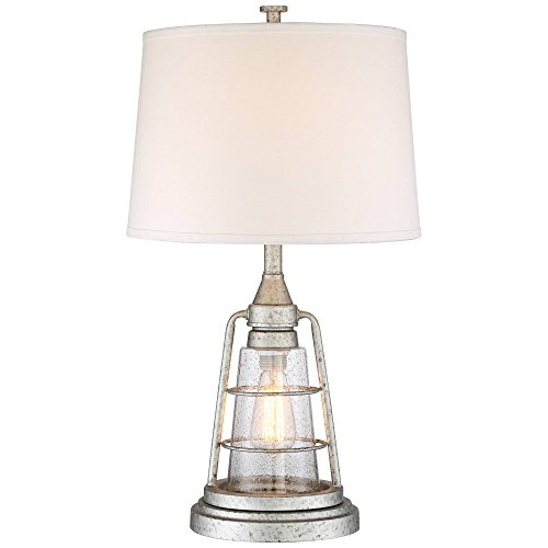Fisher Nautical Table Lamp With Nightlight Antique LED Edison Bulb Galvanized Metal Cage Drum Shade For Living Room Bedroom Franklin Iron Works 0 0