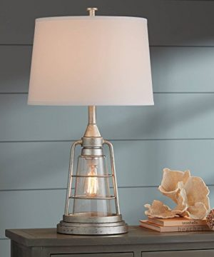 Fisher Nautical Table Lamp With Nightlight Antique LED Edison Bulb Galvanized Metal Cage Drum Shade For Living Room Bedroom Franklin Iron Works 0 1 300x360