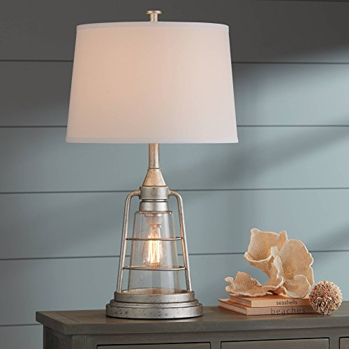 Fisher Nautical Table Lamp With Nightlight Antique LED Edison Bulb Galvanized Metal Cage Drum Shade For Living Room Bedroom Franklin Iron Works 0 1