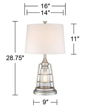 Fisher Nautical Table Lamp With Nightlight Antique LED Edison Bulb Galvanized Metal Cage Drum Shade For Living Room Bedroom Franklin Iron Works 0 4 300x360