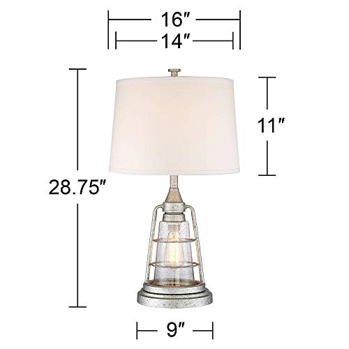 Fisher Nautical Table Lamp With Nightlight Antique LED Edison Bulb Galvanized Metal Cage Drum Shade For Living Room Bedroom Franklin Iron Works 0 4