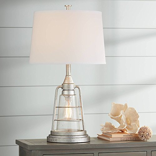 Fisher Nautical Table Lamp With Nightlight Antique LED Edison Bulb Galvanized Metal Cage Drum Shade For Living Room Bedroom Franklin Iron Works 0