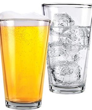 Glass Beer Cups Pack Of 12 Clear Glass Bar Tumblers 1 Pint 16oz Premium Quality Glass Cups Great For Restaurants Bars Parties Home And Kitchen By Kitchen Lux Pack Of 12 0 0 300x360