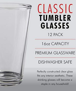 Glass Beer Cups Pack Of 12 Clear Glass Bar Tumblers 1 Pint 16oz Premium Quality Glass Cups Great For Restaurants Bars Parties Home And Kitchen By Kitchen Lux Pack Of 12 0 1 300x360