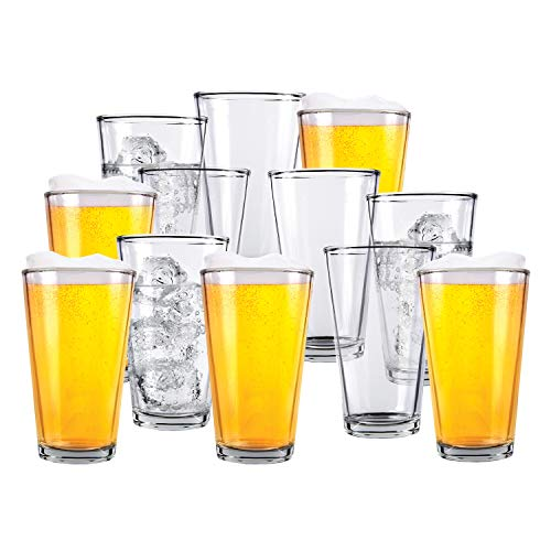 Glass Beer Cups Pack Of 12 Clear Glass Bar Tumblers 1 Pint 16oz Premium Quality Glass Cups Great For Restaurants Bars Parties Home And Kitchen By Kitchen Lux Pack Of 12 0
