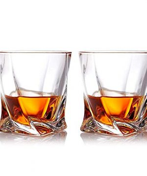 Gmark Twist Design Whiskey Glasses 10oz Set Of 2 With 4 Granite Chilling Whisky Rocks Scotch Glasses Old Fashioned Whiskey Tumblers Gift Pack Lead Free Crystal Clarity Glassware For Scotch GM2027 0 0 300x360