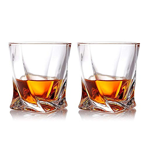 Gmark Twist Design Whiskey Glasses 10oz Set Of 2 With 4 Granite Chilling Whisky Rocks Scotch Glasses Old Fashioned Whiskey Tumblers Gift Pack Lead Free Crystal Clarity Glassware For Scotch GM2027 0 0