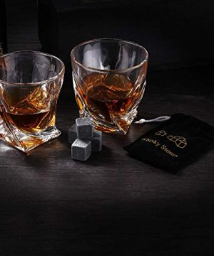 Gmark Twist Design Whiskey Glasses 10oz Set Of 2 With 4 Granite Chilling Whisky Rocks Scotch Glasses Old Fashioned Whiskey Tumblers Gift Pack Lead Free Crystal Clarity Glassware For Scotch GM2027 0 2 300x360