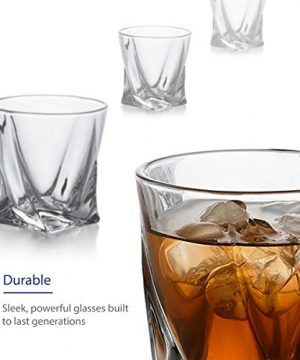 GoodGlassware Swirl Whiskey Glasses Set Of 4 10 Oz Premium Glass Tumblers With Heavy Base And Unique Swirl Design Lead Free Dishwasher Safe Perfect For Drinking Spirits 0 0 300x360