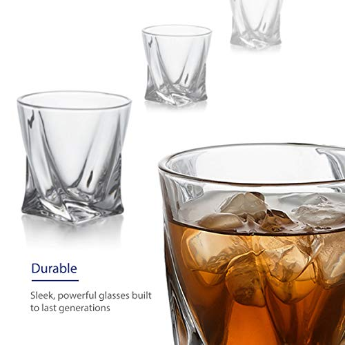 GoodGlassware Swirl Whiskey Glasses Set Of 4 10 Oz Premium Glass Tumblers With Heavy Base And Unique Swirl Design Lead Free Dishwasher Safe Perfect For Drinking Spirits 0 0