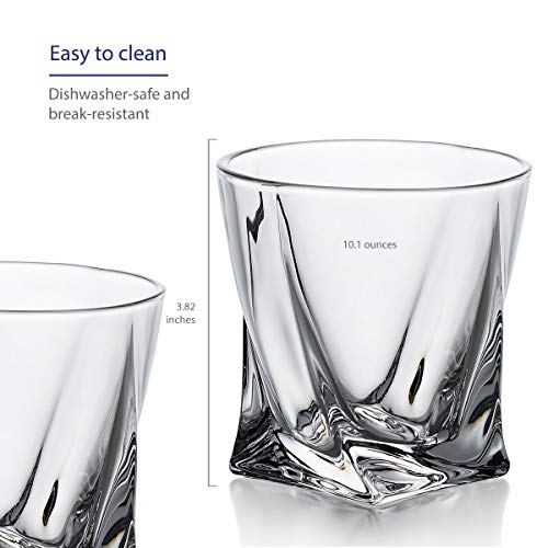 GoodGlassware Swirl Whiskey Glasses Set Of 4 10 Oz Premium Glass Tumblers With Heavy Base And Unique Swirl Design Lead Free Dishwasher Safe Perfect For Drinking Spirits 0 2