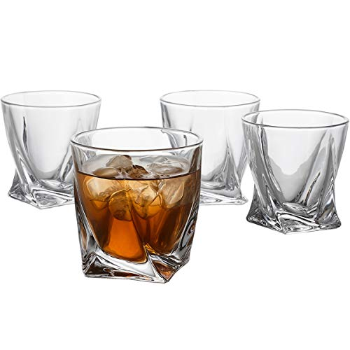 GoodGlassware Swirl Whiskey Glasses Set Of 4 10 Oz Premium Glass Tumblers With Heavy Base And Unique Swirl Design Lead Free Dishwasher Safe Perfect For Drinking Spirits 0