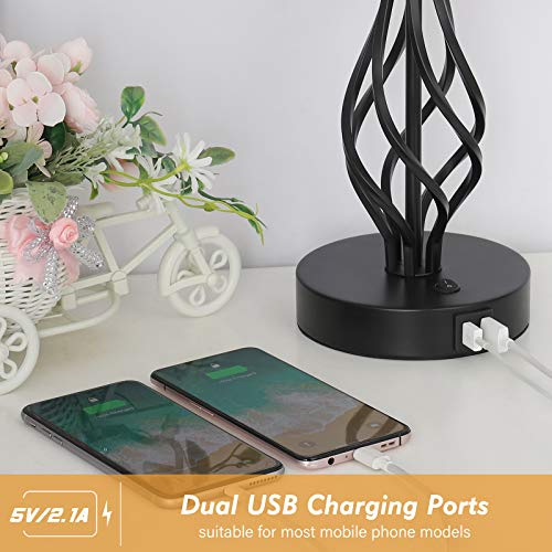 HAITRAL Bedside Table Lamp Set Of 2 With Dual USB Ports Black Metal Nightstand Lamps With USB For Bedroom Guest Room Living Room Bulb Not Included 0 0