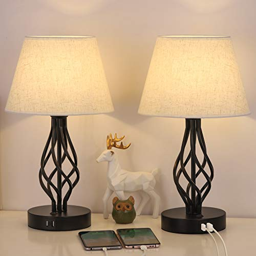 HAITRAL Bedside Table Lamp Set Of 2 With Dual USB Ports Black Metal Nightstand Lamps With USB For Bedroom Guest Room Living Room Bulb Not Included 0