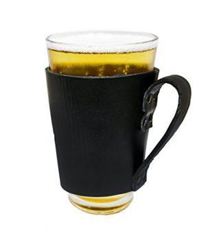 Hide Drink Leather Pint Sleeve With Handle Handmade Black 0 0 300x360