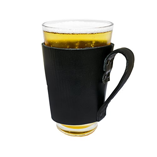 Hide Drink Leather Pint Sleeve With Handle Handmade Black 0 0