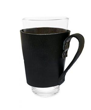 Hide Drink Leather Pint Sleeve With Handle Handmade Black 0 300x360