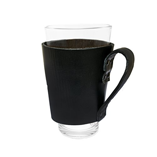 Hide Drink Leather Pint Sleeve With Handle Handmade Black 0