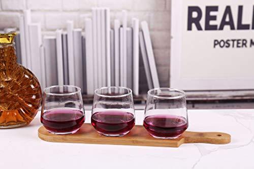 HinLot 27 Dia Base Beer Tasting Flight Set Wine Glasses Flight Boards Jars Serving Paddles Round 1 0 1