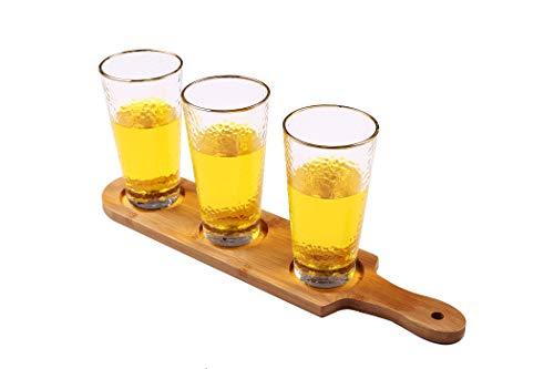 HinLot 27 Dia Base Beer Tasting Flight Set Wine Glasses Flight Boards Jars Serving Paddles Round 1 0